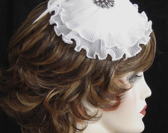 White Fascinator Hair Clip - Love Story - Pleated Organza On Sale