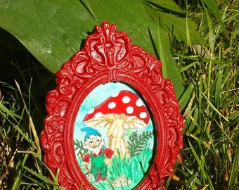 Gnome with Shovel Miniature Dollhouse Painting