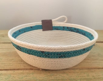 Medium Catch-All Basket - Rope Bowl - Teal