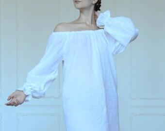 White batiste short  Renaissance Chemise  Ladies Shirt