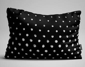Polka Dot Lumbar Pillow, Throw Pillow, Black and White Pillow, Rectangular Pillow, Decorative Pillow, Throw Pillows, Pillow, Pillows