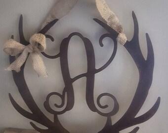 Monogrammed metal antlers door wreath or hanger,family sign,rustic Christmas wreath, wedding gift,housewarming gift, Initial wreath