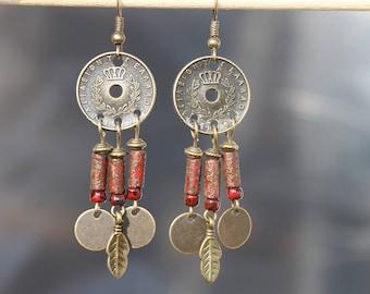 Red Bohemian Jewelry, Boho Earrings, Bohemian Earrings, Boho jewelry, Dangle Drop Earrings, Chandelier Earrings, Gypsy, Ethnic, Gift for her