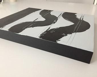Wave, black/white contemporary art, acrylic on wood
