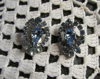 Blue Glass and Rhinestone Clip On Earrings Vintage Retro Earrings Classic Styling Sparkle Shine