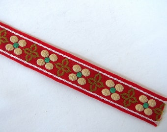 Red with Gold Flowers Ribbon, Vintage 1970's Woven Wright's Perma Trim, 5/8 x 29.5 Inches