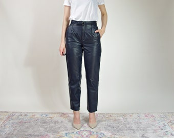80s Betty Barclay navy blue leather street style high waisted pants / size 38