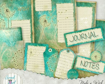 Dandelion Journal Pages and Cards, Digital Paper Craft Supplies, Printable Stationery, Scrapbooking Paper - 'Make a Wish'