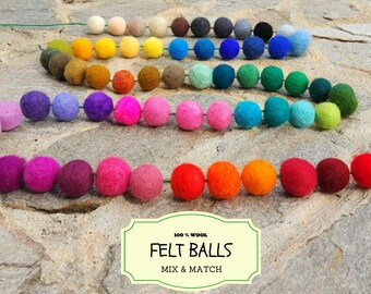 100 Wool Felt Beads, Mix and Match Wool Felt Balls, Multicolored Felted Balls in Bulk, Felted Beads, 100% Wool Felt Pom Poms, Wool Pompoms