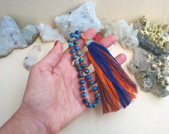 Tassel mala, mala prayer beads, small Lazurite pocket mala beads, 27 mala beads, Buddhist knotted mala prayer beads, blue gemstone mala