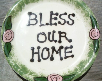 Bless Our Home Coasters   Handmade Ceramic Coasters   Ceramic Spoon Rest
