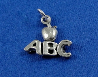 Teacher's Alphabet Apple Charm - Silver Plated Reading Kindergarten Teacher Charm for Necklace or Bracelet