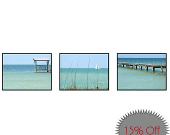 Teal Wall Decor-Set of 3 Canvas Wraps-Ocean Images-Fine Art Photography-Nautical-Coastal Wall Art-Beach Art-Turquoise & Gray-Dock-Sailboat