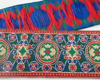 "Jacquard Ribbon Trim | 1-1/2"" Geometric circles & swirls Woven Jacquard Ribbon | Renaissance Fair Costume Trim | Blue/red/gold metallic"