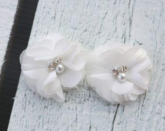 2 Pack White Pearl Rhinestone Chiffon Flowers, Fabric Flower, Craft Supplies, DIY Flower, DIY supplies, Embellishment
