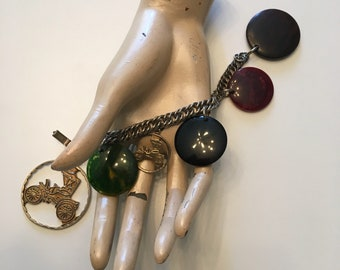 Vintage 1950s Bakelite Disc Car Charm Novelty Bracelet 50s Wood Wooden Bracelet