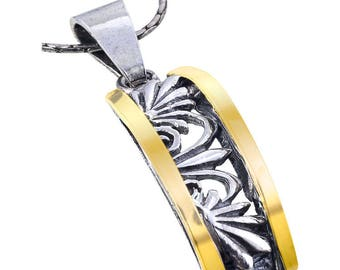 Silver and Gold Pendant, Sterling silver, 9 Karat Gold , handmade