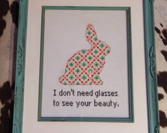 Inner Beauty Bunny Finished Framed Cross Stitch