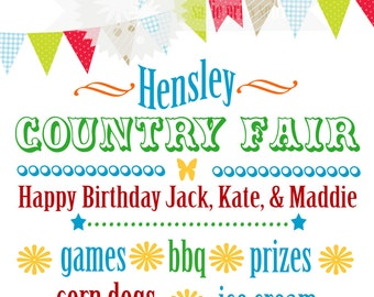 Country Fair Birthday Party Poster