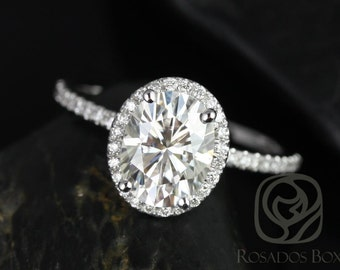 Rosados Box Federella 9x7mm 14kt White Gold Oval F1- Moissanite and Diamond Halo Engagement Ring