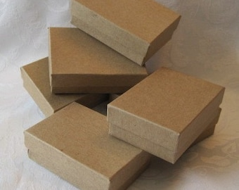 10 Kraft Boxes, Jewelry Box, Gift Boxes, Cotton Filled Box, Necklace Box 3 x 2 1/8 x 1