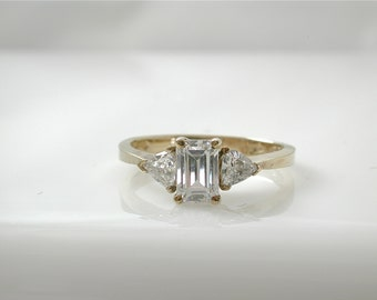 C Z Ring  Emerald Cut Cubic Zirconia Ring, Trillion Cut, Yellow Gold plated 925 silver, Diamond Alternative, CZ Ring, Emerald Cut CZ