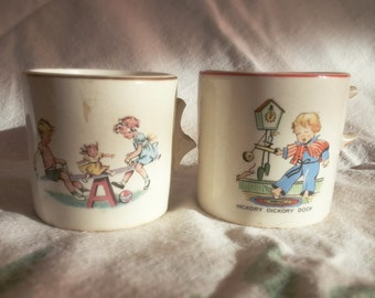 1930s Collectible mugs, childrens cups, set of mugs, Bradshaw's advertisement cups, children's mugs, old broken cups