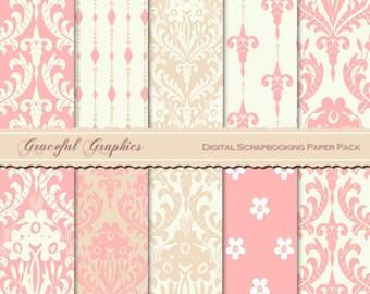 Scrapbook Paper Pack Digital Scrapbooking Background Papers 10 Sheets 8.5 x 11 DAMASK Victorian Camelot Pink Beige 2097gg