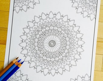 """Mandala """"Utopia Corner"""" - Hand Drawn Adult Coloring Page Print"""