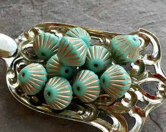 TURQUOISE Premium Bicone Czech Glass Beads - 10 Beads