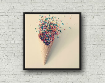 Ice Cream Print - Ice Cream Wall Art - Digital Download - Instant Download Summer Print - Ice Cream Cone Printable Art - Kitchen Print