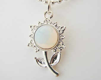 Opal White Flower Pendant with Free Necklact