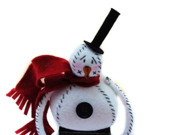 Snowman - Snowman Decor - Christmas Decor - Wool Felt Snowman - Made To Order