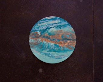 """10"""" Textured Moon, resin and acrylic"""