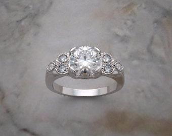 14K Gold Art Deco Style Engagement Ring Setting