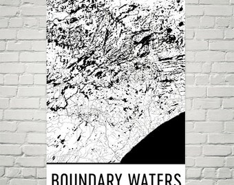 Boundary Waters Map, Boundary Waters Art, Boundary Waters Print, Boundary Waters Art Poster, Boundary Waters Wall Art, Gift, Modern, Art
