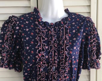 Vintage Navy Blue with Floral Square Dance Dress with Ruffles made by L Elegante Princesse Original