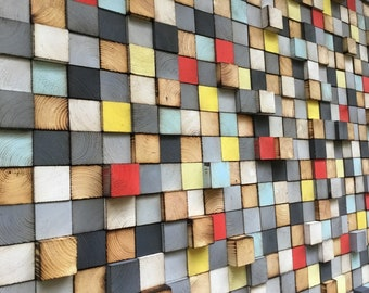Large Wood Wall Art - Sound Diffusor - Reclaimed Wood At
