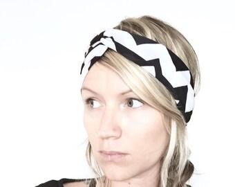 Chevron Print Turban Headband, Yoga Headband, Black and White Turban, Gift for her