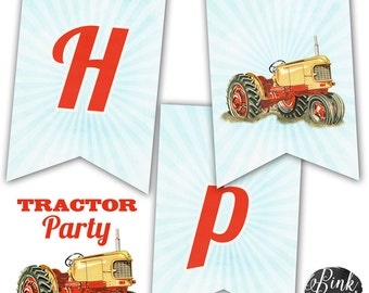 Farm Tractor Happy Birthday Banner, Farm Party, Tractor Party, Instant Download, Print Your Own