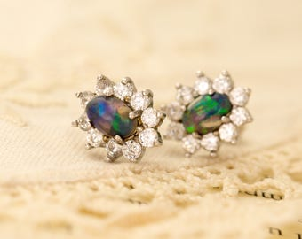 1.2ct Blue Green Pink Mexican Opal Sterling Silver Earrings (MO450E)