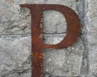 Flat Metal Rusty Letter P / Metal / Letter / Garden / Industrial / Vintage / Rustic / Floral / Gift / Wedding / Home / 25cm
