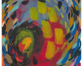 "Small Abstract Painting on Paper: ""Summer Carnival II"""