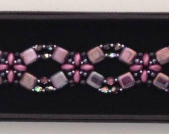 beaded bracelet purple beaded bracelet translucent purple tile beads purple super duo beads  purple Czech fire polished beads shiny bling