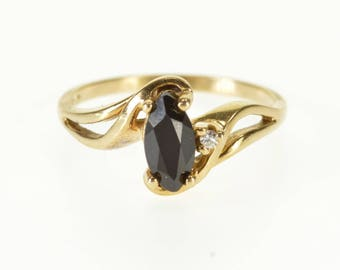 10k Black Onyx Marquise Diamond Accent Bypass Ring Gold