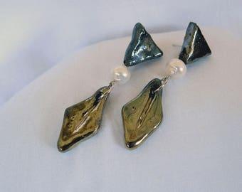 Raku Ceramic pendant earrings with pearl