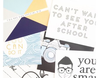 Lunch Box Notes | 14 cards | Boy | Back to School | mama notes