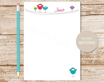 personalized birds notepad . birds on a wire note pad . personalized stationery . cute stationary