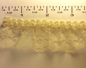 Vintage Victorian Lace with Pearl Braid - Ivory - Amazing one of a kind trim - 1 yard.