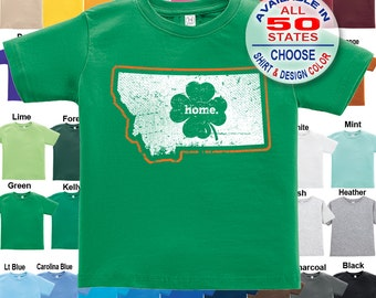 Montana Home State Irish Shamrock T-Shirt - Boys / Girls / Infant / Toddler / Youth sizes